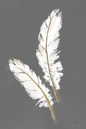 Gold Feathers I on Grey by Chris Paschke