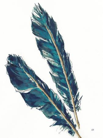 Gold Feathers III Indigo Crop by Chris Paschke