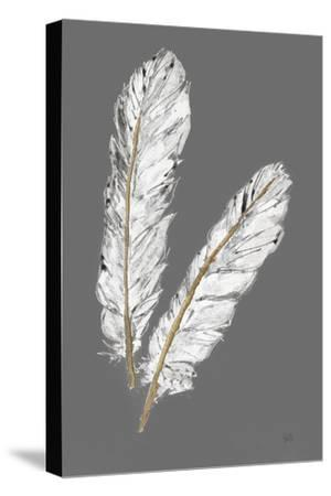Gold Feathers IV on Grey by Chris Paschke