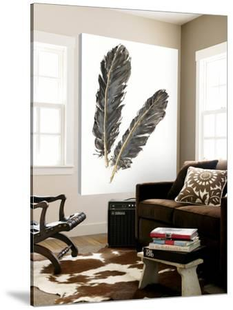 Gold Feathers IV on White by Chris Paschke