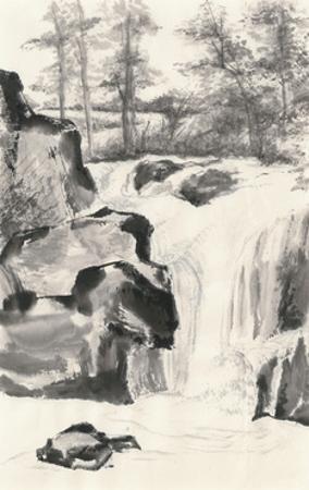 Sumi Waterfall I by Chris Paschke