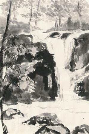 Sumi Waterfall III by Chris Paschke
