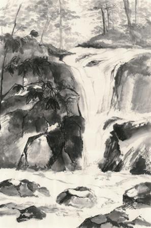 Sumi Waterfall IV by Chris Paschke