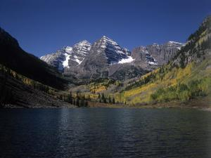 Mountains with Sky and Water, Maroon Bells, CO by Chris Rogers
