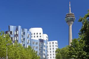 Germany, Rhineland, Dusseldorf, Neuer Zollhof, Television Tower by Chris Seba