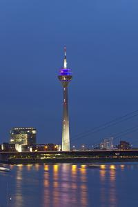Germany, Rhineland, Dusseldorf, Rhine Shore Promenade, Oberkassel Bridge, Television Tower, Evening by Chris Seba