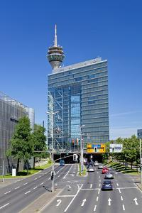Germany, Rhineland, Dusseldorf, Stadttor with Television Tower by Chris Seba