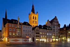 Germany, Rhineland-Palatinate, Trier, Marketplace, Petrusbrunnen (Well) in the Evening by Chris Seba