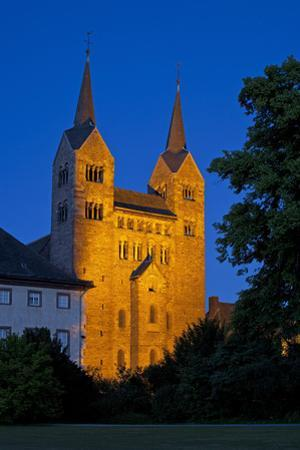 Germany, Weser Hills, North Rhine-Westphalia, Hšxter, Castle Corvey, Abbey Church, Evening by Chris Seba