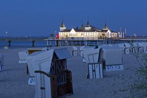 Germany, Western Pomerania, Island Usedom, Seaside Resort Ahlbeck, Pier, Evening by Chris Seba
