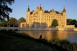 Germany, Western Pomerania, Schwerin Palace, Evening Sun, Fisher by Chris Seba