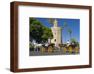 Spain, Andalusia, Seville, Arabian Tower, Torre Del Oro, Horse-Drawn Carriages