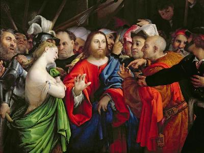 Christ and the Adulteress, c.1527-29-Lorenzo Lotto-Giclee Print