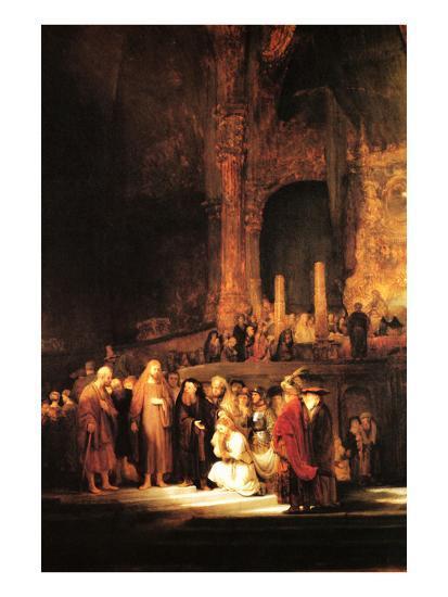 Christ and the Adultress-Rembrandt van Rijn-Art Print