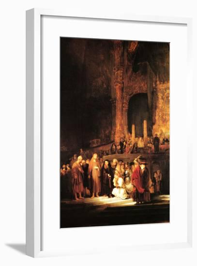 Christ and the Adultress-Rembrandt van Rijn-Framed Art Print