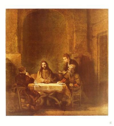 Christ and the Disciples at Emmaus-Rembrandt van Rijn-Collectable Print