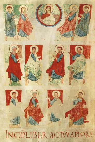 Christ and the Twelve Apostles, Miniature from the Atlantic Bible, Manuscript 11th Century--Giclee Print