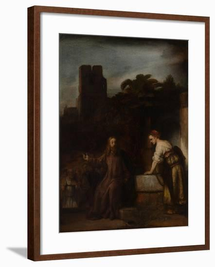 Christ and the Woman of Samaria, C.1655-Rembrandt van Rijn-Framed Giclee Print