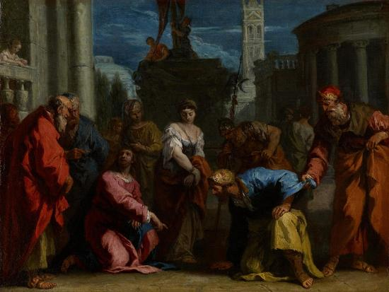 Christ and the Woman Taken in Adultery, C.1710-Sebastiano Ricci-Giclee Print