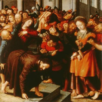 Christ and the Woman Taken in Adultery (Oil on Panel)-Jan Sanders van Hemessen-Giclee Print