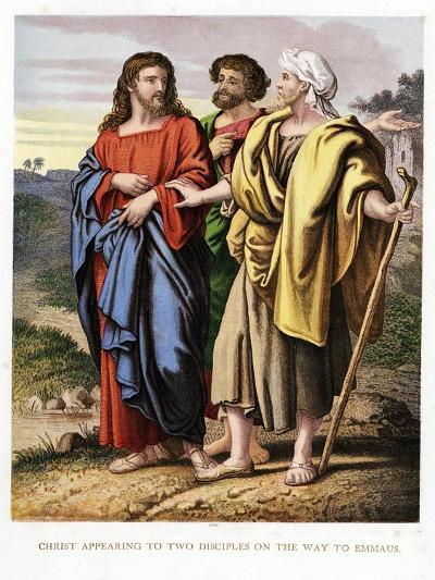 Christ Appearing to the Two Disciples on the Road to Emmaeus, C1860-Kronheim & Co-Giclee Print