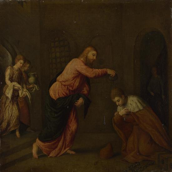 Christ Baptising Saint John the Martyr of Alexandria, C. 1565-Paris Bordone-Giclee Print