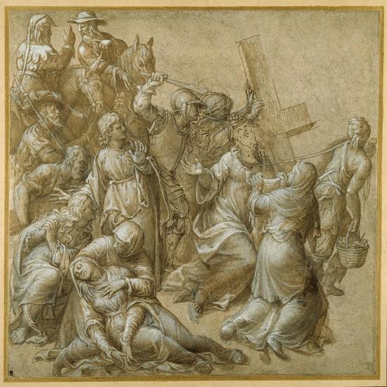 Christ Bearing His Cross Encounters St Veronica-Lavinia Fontana-Giclee Print