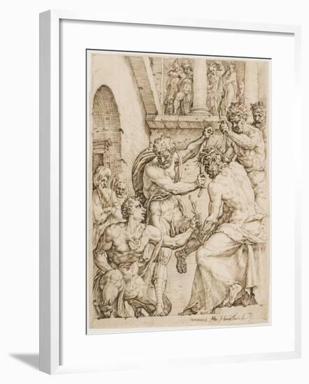 Christ Being Crowned with Thorns, c. 1548-Maerten van Heemskerck-Framed Giclee Print