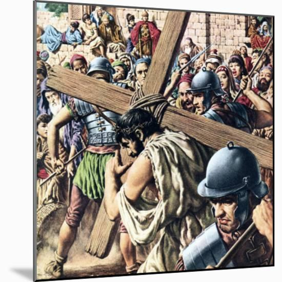 Christ Carrying His Cross-Jack Hayes-Mounted Giclee Print
