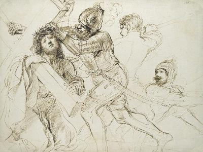 Christ Carrying the Cross, C.1625 - 1628 (Pen and Brown Ink on White Paper)-Guercino-Giclee Print