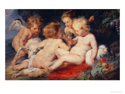 Christ Child with Saint John and Two Angels, 1615/20-Peter Paul Rubens-Giclee Print