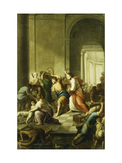 Christ Driving the Money-Changers from the Temple-School of Eustache Le Sueur-Giclee Print