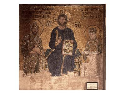 Christ Enthroned with Constantine XI and Empress Zoe--Giclee Print
