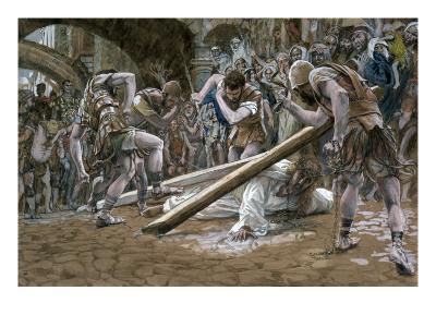 Christ Falls Beneath the Cross, Illustration for 'The Life of Christ', C.1884-96-James Tissot-Giclee Print