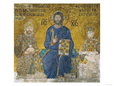 Christ Flanked by Emperor Constantine IX (1042-1054) and His Wife the Empress Zoe--Giclee Print