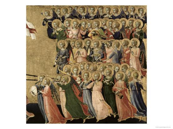 Christ Glorified in the Court of Heaven, Detail of Musical Angels from the Right Hand Side, 1419-35-Fra Angelico-Giclee Print