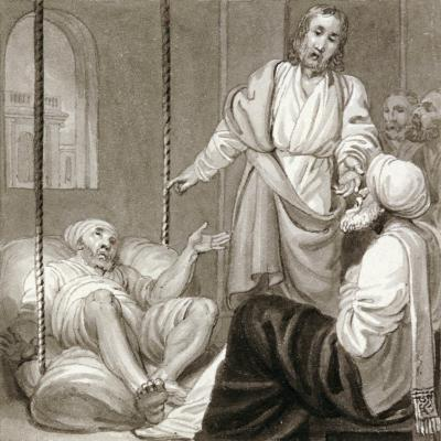 Christ Healing the Paralysed Man Let Down by Ropes, C1810-C1844-Henry Corbould-Giclee Print