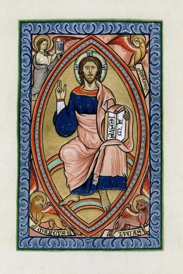 Christ in Glory with the Symbols of the Four Evangelists, C1200--Giclee Print