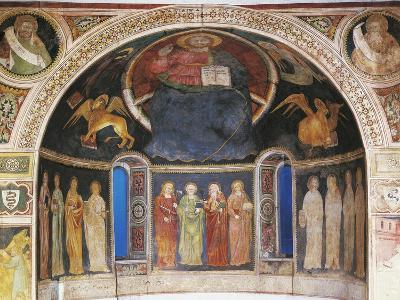 Christ in Majesty Between Symbols of Evangelists and Twelve Apostleses in Niche of Apse--Giclee Print
