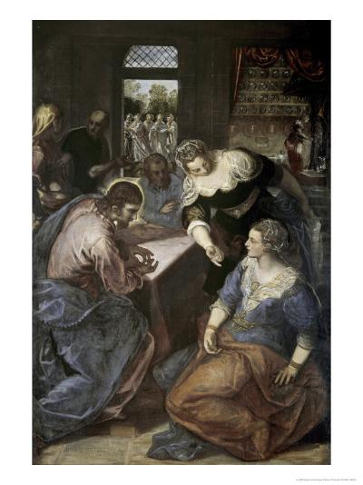 Christ in the House of Mary and Martha-Jacopo Robusti Tintoretto-Giclee Print