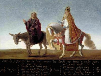 Christ on a Donkey, the Pope on Horseback--Giclee Print