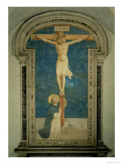 Christ on the Cross Adored by St. Dominic-Fra Angelico-Giclee Print