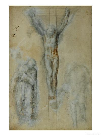 Christ on the Cross Between the Virgin Mary and Saint John (?)-Michelangelo Buonarroti-Giclee Print