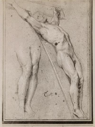 Christ on the Cross, C.1685 (Pierre Noire and White Chalk Highlights on Beige Paper)-Charles Le Brun-Giclee Print