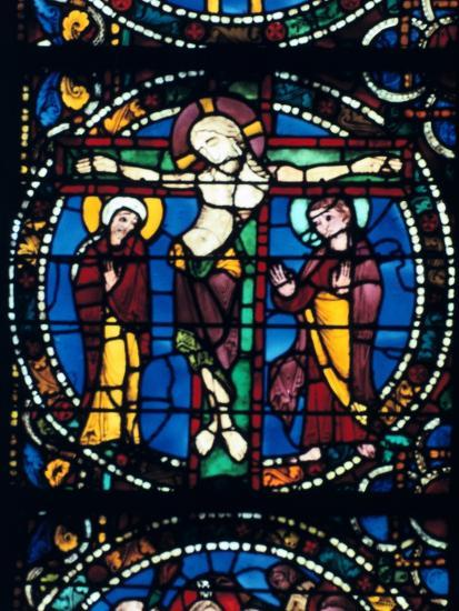 Christ on the Cross, stained glass, Chartres Cathedral, France, 1194-1260.. Artist: Unknown-Unknown-Giclee Print