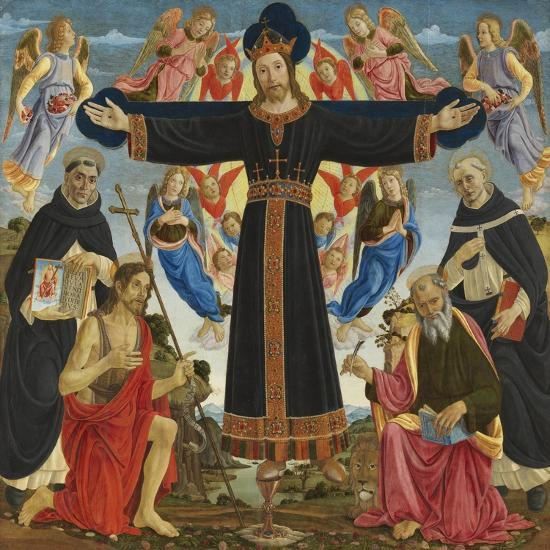 Christ on the Cross with Saints Vincent Ferre, John the Baptist, Mark and Antonius, c.1491-5-Master of the Fiesole Epiphany-Giclee Print