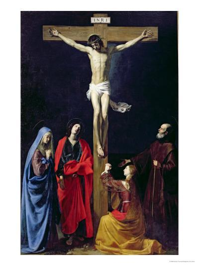 Christ on the Cross with the Virgin, Mary Magdalene, St. John and St. Francis of Paola-Nicolas Tournier-Giclee Print