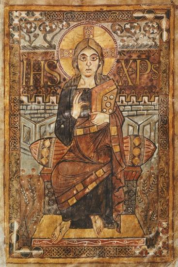 Christ on the Throne, Miniature from the Godescalco Gospels, Germany 8th Century--Giclee Print