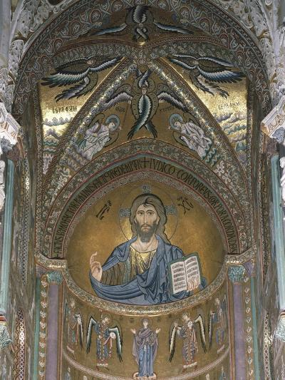 Christ Pantocrator, Detail of Central Apse Mosaic, Cefalu' Cathedral, Sicily, Italy, 12th Century--Giclee Print