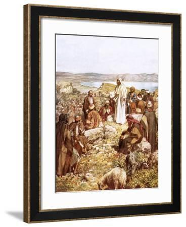 Christ Preaching to This Disciples and Others-William Brassey Hole-Framed Giclee Print